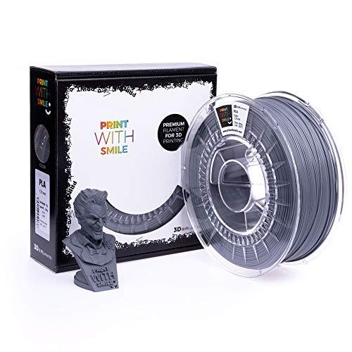 Print with Smile 3D Drucker PLA Filament | 1,75 mm für 3D Printer und 3D Stift | hochwertig Filament für 3D-Drucker und 3D-Pen 500 g (Grey)
