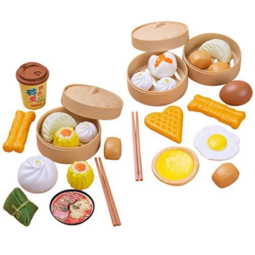 Tomaibaby 29Pcs / 2 Sets Kinder Spielen Essen Set Chinesische Nachmittagstee Essen Spielzeug Spielen Kochspielzeug für Kinder So Tun Als Ob Spielen