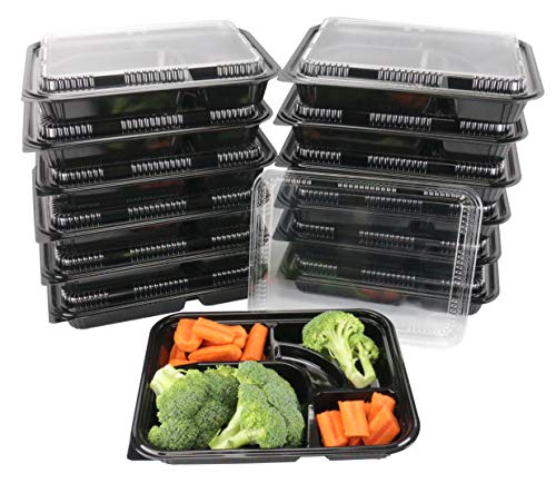 The 1 Black Plastic 5 Compartment Japanese Bento Box Food Container with Lid 200 COUNT, TZ-306x200