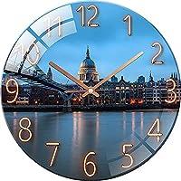 ガラスの壁時計12インチアートハンギングクロックサイレントラウンドアラビア数字壁時計、灯台