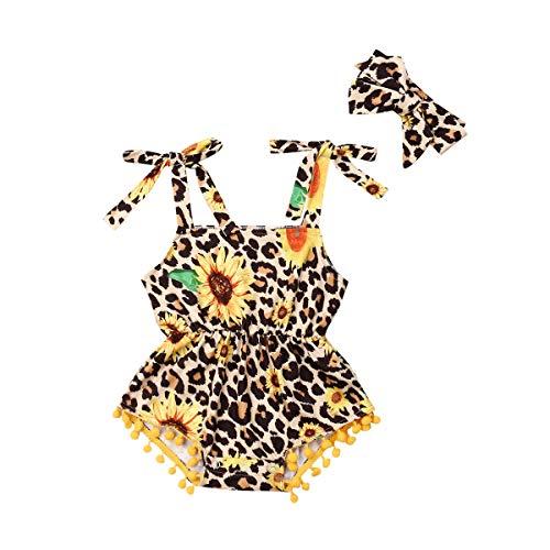 Conjunto de pijama con diseño de girasol, de leopardo, con borla, conjunto de ropa de verano para niños, 2 unidades