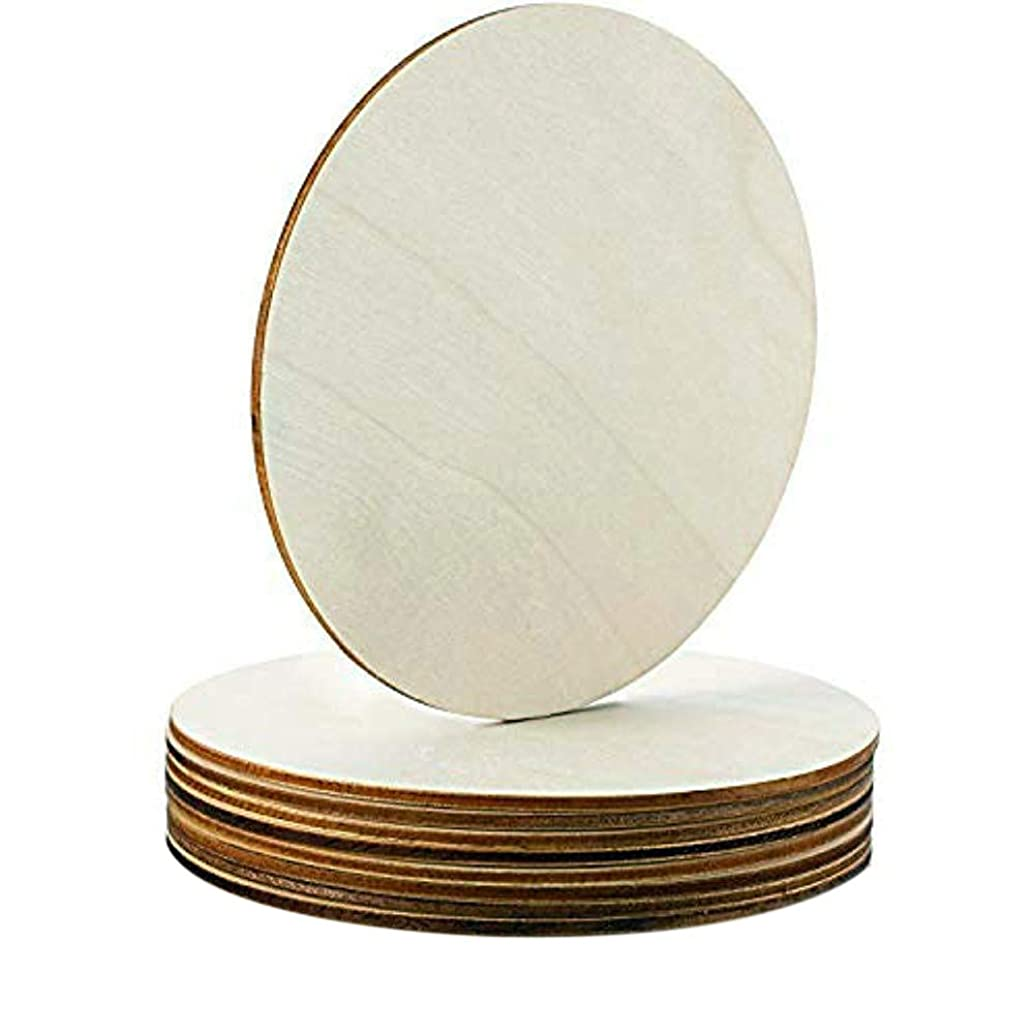 (10 Pack) Circle Round Blank Wood Round Plaque for Crafts Painting Wood Burning Engraving Machine Unfinished and Unpainted Wooden Cutout 6