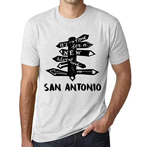 Hombre Camiseta Vintage T-Shirt Gráfico Time For New Advantures Santiago de Cuba Blanco Moteado