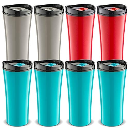 Set of 8 coffee cup Insulated Travel coffee mug spill proof | Reusable coffee cups with lids | Insulated Coffee & Tea mug Keeps Hot or Cold | 16 oz | great for travel Liquor Sip.