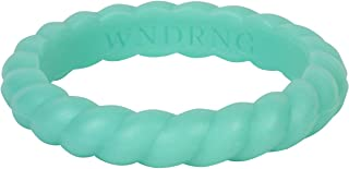 LearnFitFun Braided Silicone Wedding Ring for Women Thin Stackable Silicon Rubber Engagement Band Individual Bands   7 Band Set WNDRNG