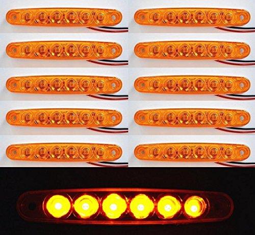10 x 6 LED 24 V Côté tracé Ambre Orange marqueur LED Camion Remorque Châssis Caravane