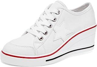 5602c938792894 Femme Baskets Mode en Toile Talon Compensé Chaussures de Sport Fermeture  Lacets