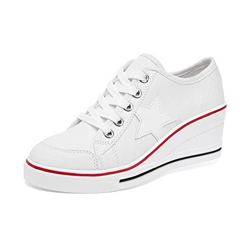 87b6f653870b Women s Canvas Wedge Heeled Platform Fashion Sneaker Pump Shoes