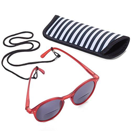 TROIKA Sun Reader 2 - SUR15/RD- Lesesonnenbrille mit Etui - bifokal - Stärke +1,50 dpt - Lesebrille + Sonnenbrille - Polykarbonat/Acryl/Mikrofaser - rot - das Original von TROIKA