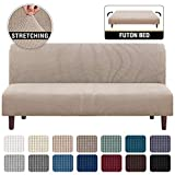 Stretch Armless Futon Cover Futon Slipcover Full Queen Size Futon Couch Cover Futon Sofa Cover Futon Bed Cover Furniture Protector with Elastic Bottom, Checked Pattern Jacquard (Futon, Sand)