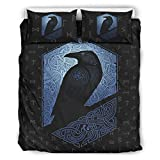 Viking Odin Ravens Modern Design Comfortable 3 Pieces Bedding Sets Bedroom Comforters with Pillow Cases Queen Size Comforter Sets Bed Duvet Cover White 90x90 inch