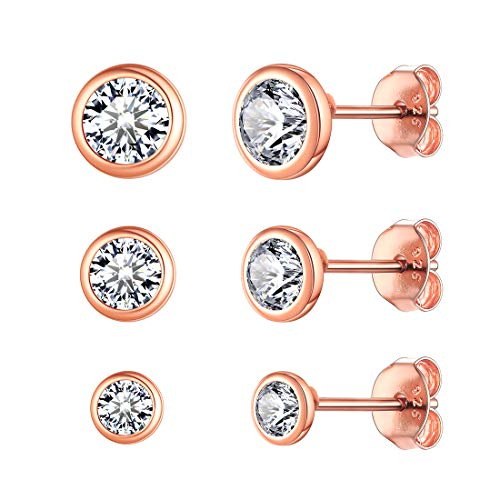 ChicSilver Damen Rosegold Ohrstecker mit Zirkonia 3mm 4mm 5mm 3 Paar Knorpel Ohrringe Set für Braut Brautjungfer Model