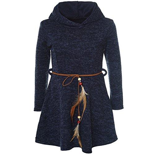 BEZLIT Mädchen Kleid Kostüm Kapuze Peticoat Festkleid Langarm 21578 Blau Größe 140