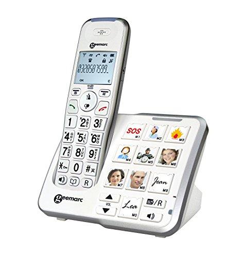 Geemarc AmpliDECT 295 PHOTO Großtastentelefon mit 10 Direktwahl-Fototasten und optischer Anrufanzeige an der Basisstation, integrierter Anrufbeantworter, Deutsche Version