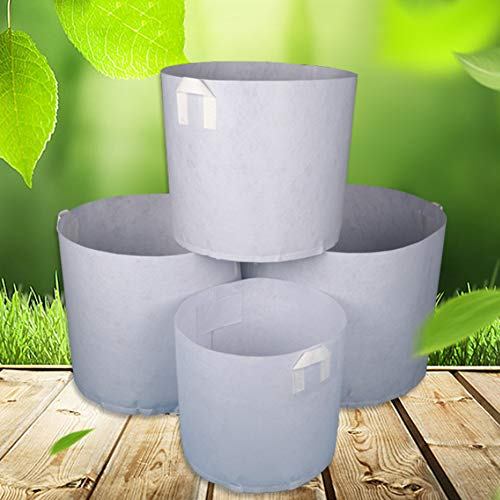 SUFUBAI 10 macetas redondas de tela de 5 galones, bolsas de cultivo de plantas de jardín, macetas de tela no tejida, bolsas de cultivo de jardín con asas