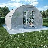 tidyard serre tunnel da giardino in acciaio per piante, con 4 finestre laterali e una porta, antiruggine, tessuto reticolare pe, bianco 9m² 300x300x200 cm