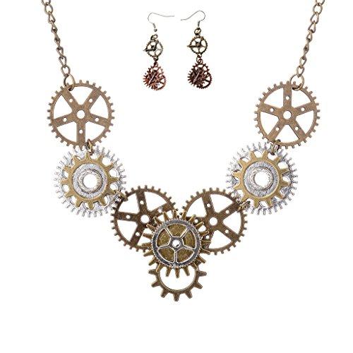 MagiDeal 1 Stück Halskette +1 Paar Ohrringe Damen Mode Schmuck Zubehör Vintage Schmuck Geschenk