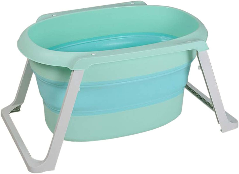 Baby Bathtub Large Bath Barrel Household Foldable Bathing Bucket GW (color   Lake Green)
