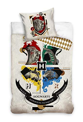 Bettwäsche Bettgarnitur Kinder 2 TLG. Set Harry Potter Hogwarts 140x200 +Kissenbezug Beige Cremig 100% Baumwolle Öko-Tex