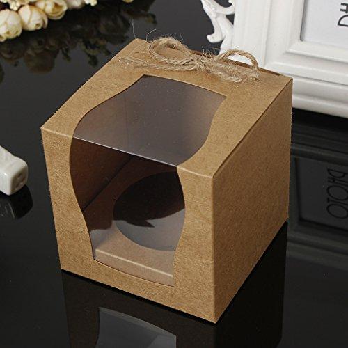 SM SunniMix 12 Stück Kuchenschachtel Kuchenkarton Gebäck-Kartons mit Fenster für Hochzeit Taufe Geburtstag Party - Braun