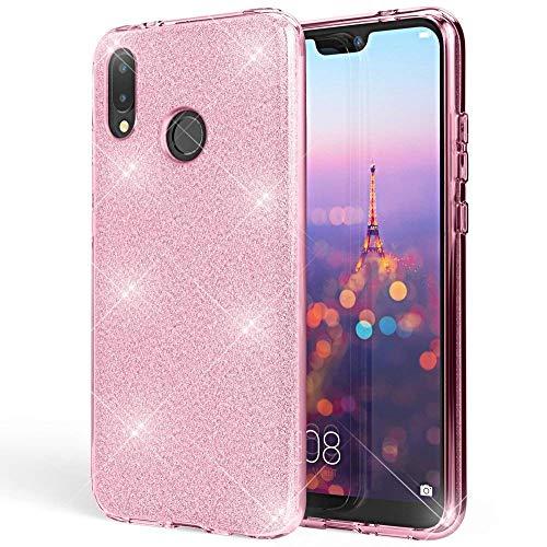 Coovertify Funda Purpurina Brillante Rosa Xiaomi Redmi Note 5 / Note 5 Pro, Carcasa Resistente de Gel Silicona con Brillo Rosa para Xiaomi Redmi Note 5 / Note 5 Pro (5,99')
