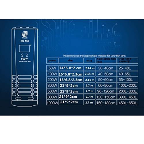 MU Calentadores de acuarios domésticos Pantalla Digital Inteligente Termostato de Tanque de Peces con Interruptor Independiente y termostato Inteligente,Un Solo Tubo de 200 vatios