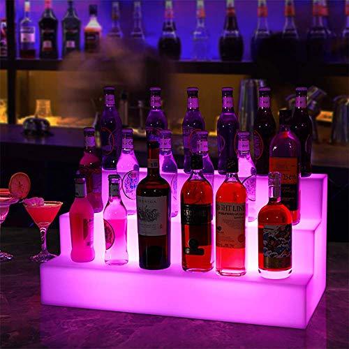 Terzsl Estante de exhibición de Botellas de Vino, Estante de Vino de exhibición Luminosa de Control Remoto de Color LED de Tres Capas, Estante de Vino Luminoso de Cambio de Color de Fiesta KTV