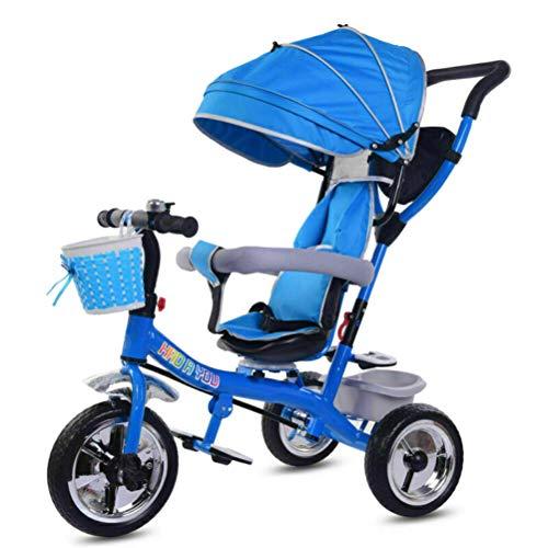 YsaAsaa Kids Trike 4 en 1 Triciclo Pedal Trike con arnés de seguridad, toldo solar, pedal antideslizante para niños
