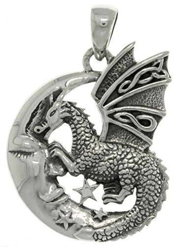 Jewelry Trends Sterling Silver Moon and Dragon Celtic Knot Pendant