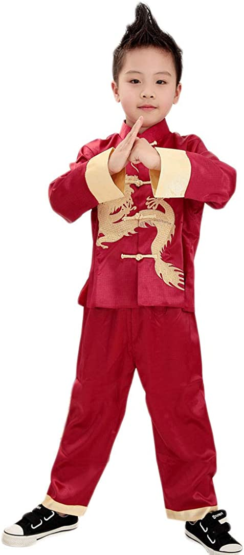 Treasure-box Cute Boys Satin Cheap Dragon Su Limited time for free shipping Chinese Kungfu Tangzhuang