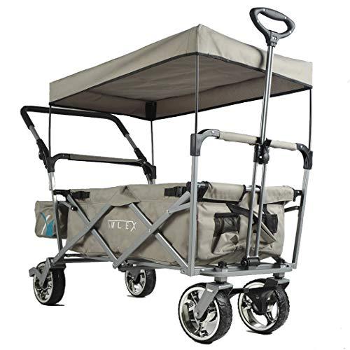 IMLEX Bollerwagen mit Schiebe und Zieh Funktion IMLEX-4265 Grau faltbar Handwagen Strandwagen mit Dach und Feststellbremse