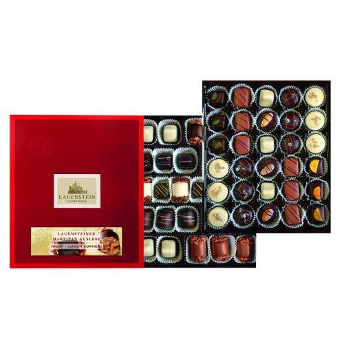 Lauensteiner Marzipan-Auslese 700g in Geschenk-Schachtel mit Alkohol I 12 köstliche Sorten I Genussvolle Geschenkidee zum Geburtstag oder einfach so