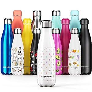 Proworks Botellas de Agua Deportiva de Acero Inoxidable   Cantimplora Termo con Doble Aislamiento para 12 Horas de Bebida Caliente y 24 Horas de Bebida Fría - Libre de BPA - 500ml – Blanco - Lunares