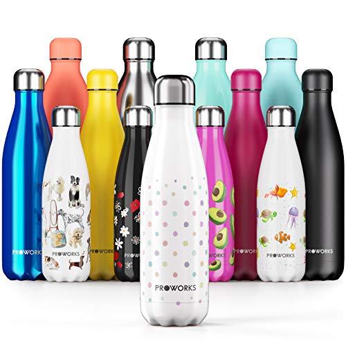 Proworks Botellas de Agua Deportiva de Acero Inoxidable | Cantimplora Termo con Doble Aislamiento para 12 Horas de Bebida Caliente y 24 Horas de Bebida Fría - Libre de BPA - 500ml – Blanco - Lunares