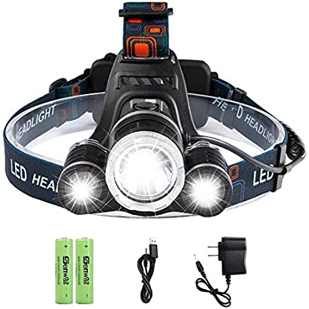White, Blue Head Lights Super Bright Zoomable Headlamp with 2 x 18650 Battery,Charger 3000 Lumen 2 Colors Waterproof Head Lamp USB Cable for Camping Running Genwiss Led Rechargeable Headlamp