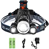 Led Rechargeable Headlamp, Genwiss 6000 Lumens Head Lamp, 3 XML- T6 Headlight Flashlight, 4 Modes Waterproof Headlamp with 2 x Batteries, Wall Charger, Car Charger for Hiking Camping Hunting