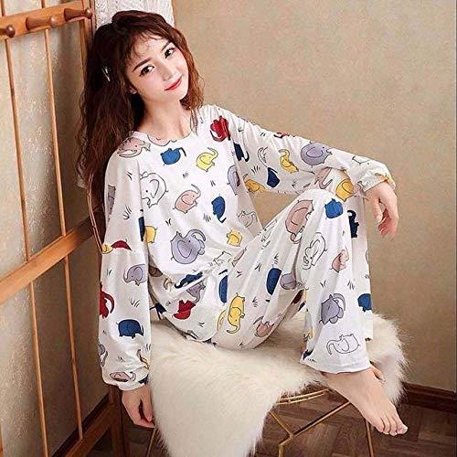 QPRER Conjunto De 2 Pijamas De Otoño E Invierno para Mujer,Pijamas De Cuello Redondo De Algodón Suave Y Cómodo,Ropa De Abrigo,Estampado De Elefante De Dibujos Animados,Blanco,M