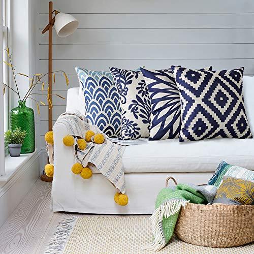 Artscope Juego de 4 fundas de cojín decorativas de 45 x 45 cm, de algodón y lino, para sofá, coche, dormitorio, decoración del hogar