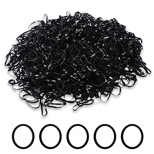 1000PCS Rubber Elastic Hair Ties, Elastic Hair Tie-Diameter in Around 20mm, Durable Cute Hair Bands for Little Baby Girls Hair by XieNie(Black )