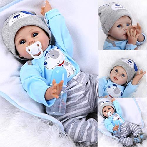 AIBAOLIAN 22 Pulgadas 55cm Muñecas Reborn Baby Dolls Reborn Niño Suave De Silicona Realista Juguete Bebe Reborn con Ojos Azules Regalo