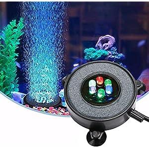 Eshen LED Aquarium Fish Tank Air Stone Light, Multi-Colored Air Bubble Stone Disk for Fish