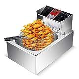 Freidora práctica Freidora eléctrica de Acero Inoxidable Freidora eléctrica Comercial Máquina de Cocina para Catering con Canasta y Control de Temperatura