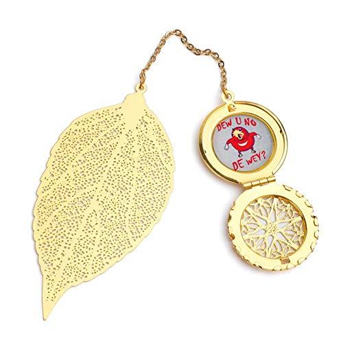 Dew U No De Wey Gamer Meme Exquisite Leaf Bookmark, Metal Leaf and Exquisite Pattern Pendant
