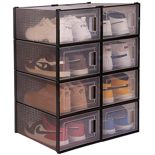 WAYTRIM Storage Shoe Box Foldable Clear Sneaker Display Box Stackable Storage Bins Shoe Container Organizer 8 Pack - Black