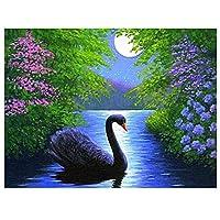 DIY 数字油絵 数字キットでペイント ホームデコレーション - 40* 50 cm 白鳥の動物の風景 キャンバスの油絵 大人の子供のためのギフト
