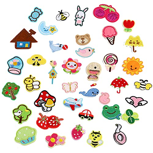 WiDream 39 Piezas Parches Bordados Plancha Parches, Parches de Ropa de Bricolaje para Niños de Dibujos Animados, Planta, Animal, Para Bolsillos de Ropa de Jeans de Camiseta