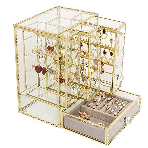 JUNJP acryl juwelen opbergdoos, grote capaciteit oorbel Display opbergdoos met 3 verticale laden, geschikt voor dressing tafel nachtkastje