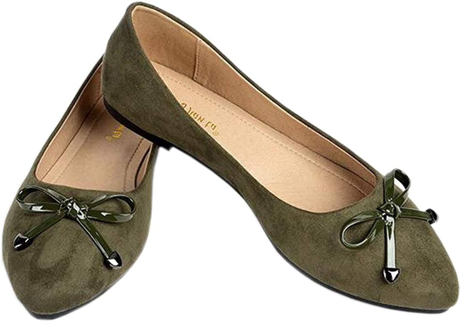 Pfpeng Women Bows Ballet Flats Casual Slip-on Faux Suede Pointed Toe Loafers shoes