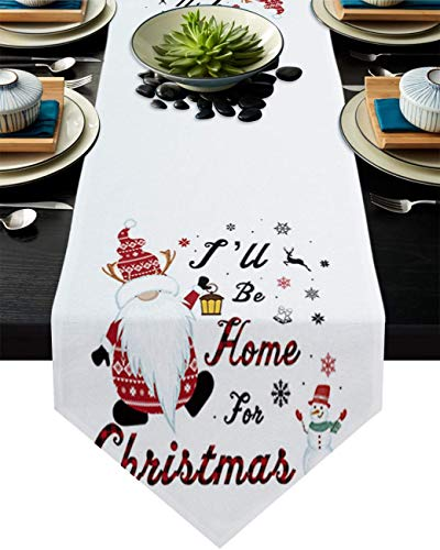 COMMER Camino de mesa, gnomos copo de nieve muñeco de nieve bufandas para decoración de mesa para bodas, ceremonias de graduación/banquete (33 x 228 cm)