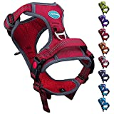 ThinkPet No Pull Breathable Sport Dog Harness - Reflective Padded Oxford Nylon Safety Adjustable Easy on and off Vest, Back/Front Clip Handle Outdoor and Training Medium Large Dogs(Large Red)